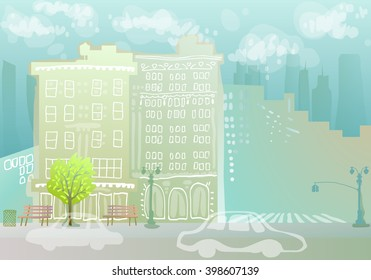 colorful cityscape with doodle buildings