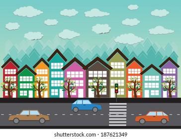 Colorful Cityscape  Town city building design