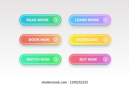 Colorful clean buttons for websites, vector illustration