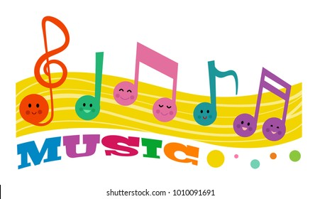 Colorful clip-art of smiling music notes and the word music. Eps10