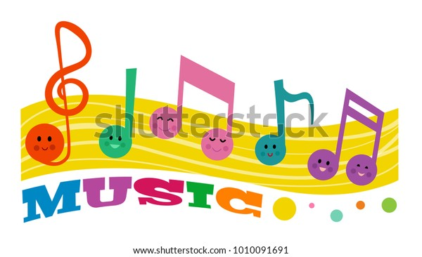 Colorful Clipart Smiling Music Notes Word Stock Vector Royalty Free 1010091691