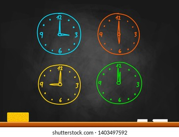 Colorful clock drawing on blackboard