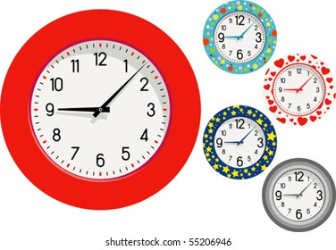 "Colorful Clocks! - A red one, and others with polka-dots, hearts, stars, metal. Isolated on white. Vector illustration. Suitable for advertising, editorial graphics. See others on ""Objects"" set."