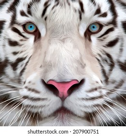 Colorful closeup portrait of a white bengal tiger. Oil painting style. The biggest cat. Wild beauty of the most dangerous and mighty beast. Vector illustration