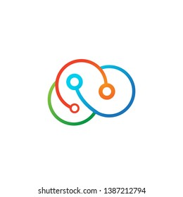colorful cloud circuit technology logo icon