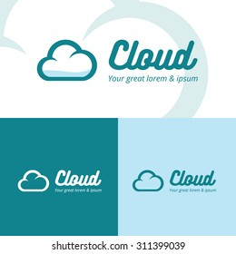 Colorful cloud logo design in full and one color performance on blue background. Vector abstract illustration