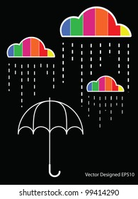 Colorful cloud with rain drop on the umbrella - Vector