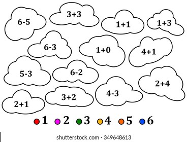 Colorful clouds as the counting for little kids - coloring book - vector