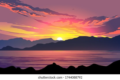 Colorful cloudy sunset over the hills with lake