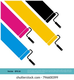 Colorful CMYK Roll Painter Vector Template Illustration Design. Vector EPS 10.