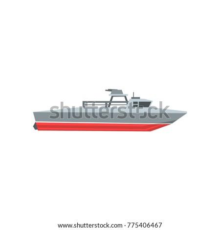 Colorful Coast Guard Cutter Navy Surveillance Vector de stock (libre ...