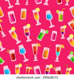 Colorful cocktail drink seamless pattern template concept. Icons  for your product or design, web and mobile applications. Vector flat with long shadow illustration on blue background