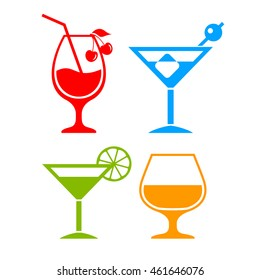 Colorful cocktail icon set, vector illustration isolated on white background