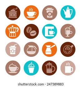 Colorful coffee icon set on white. Vector illustration