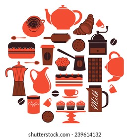 A colorful coffee related icons composition. Vector illustration