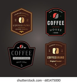 Colorful Coffee Shop Logo Design Element in Retro Style Label or Badge. Bean Silhouette. Vintage vector illustration.