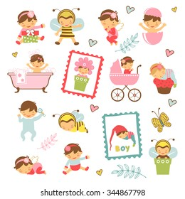 Colorful collection of adorable babies. Illustration in vector format