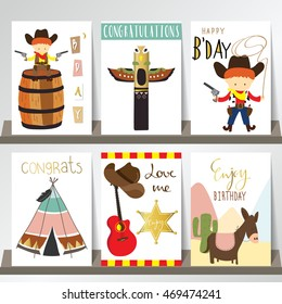 Colorful collection for banners,Flyers,Placards with cowboy,guitar,horse,hat and star