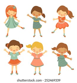 Colorful collection of cute little girls characters. vector illustration