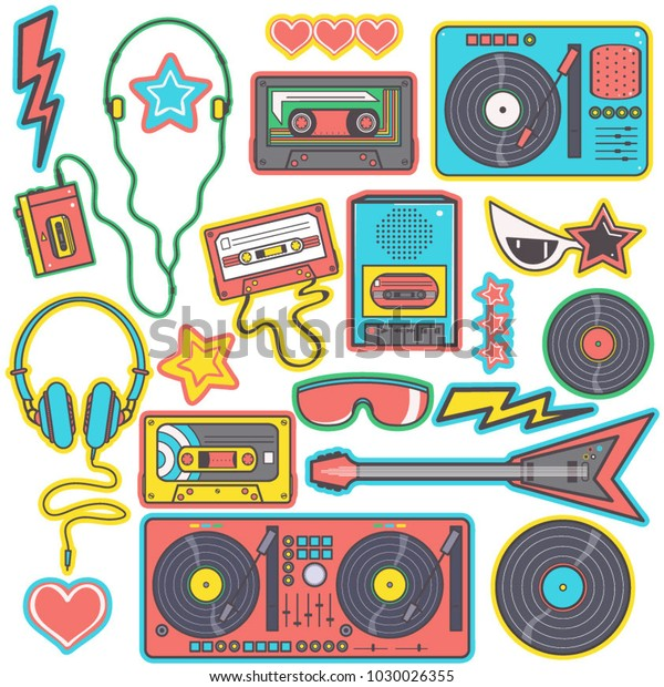 Colorful Collection Eighties Pop Music Style Stock Vector