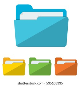 colorful Collection of file folders for documents icons. Modern flat design vector illustration concept for web banners, web and mobile app, web sites, printed materials, infographics.