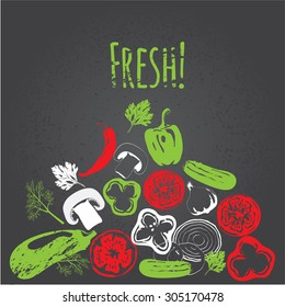 Colorful Collection of hand drawn vegetables on chalkboard, high detailed, vector illustration, sketch, engraved style, menu design.