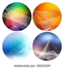 Colorful collection set of trendy geometric abstract shapes for business visual identity- triangle, polygons and rectangular designs. Abstract Geometric Patterns Set with Hipster Design.