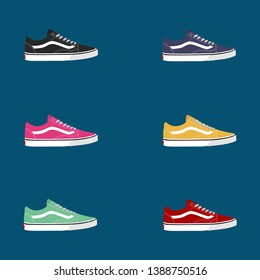 colorful collection of shoe vectors. red shoes, green shoes, blue shoes, yellow shoes, vans, - vector