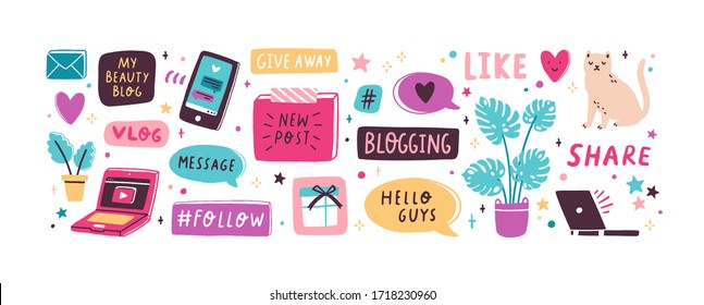 Colorful collection of various inscriptions, signs and buttons for blog isolated on white background. Creative design elements set for post in social network. Vector illustration in flat cartoon style