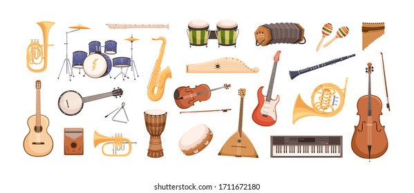 Colorful collection of various musical instruments isolated on white background. Strings, brass, percussion, woodwinds instruments. Vector illustration in flat cartoon style