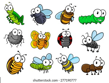 Colorful collection of vector cartoon bugs and insects with caterpillars, ladybug, butterfly, grasshopper, fly, spider, bee, hornet, wasp and ant