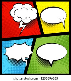 Colorful comic book background with blank white speech bubbles of different shapes in pop-art style. Rays, radial, halftone, dotted effects.