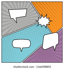 Colorful comic book page background in pop art style with empty speech bubbles. Template with rays and dots pattern. Vector illustration