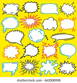 Colorful comic cartoon hand drawn speech bubble vector set