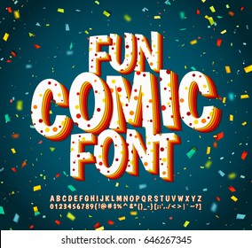 Colorful comic font on blue background with multicolored confetti. Alphabet in style of comics, pop art. Multilayer funny letters for decoration of kids' illustrations, greeting card, posters, banners