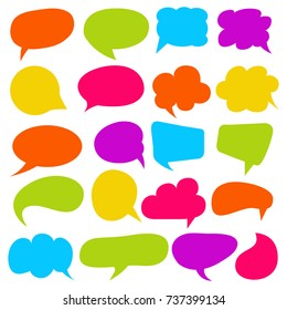 colorful comic speech bubble and dialogue set
