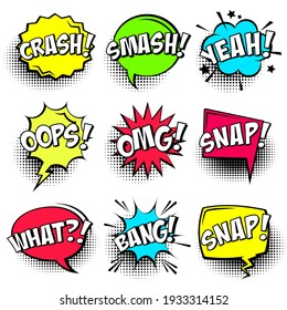 Colorful comic speech bubbles with halftone shadows and text isolated on white background. Hand drawn retro cartoon stickers. Pop art style. Vector illustration.