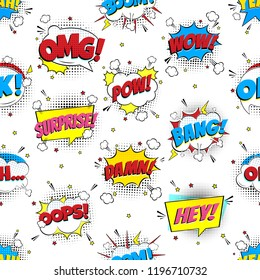 Colorful comic speech bubbles seamless pattern with phrases: OMG!, POW!, BANG!, OOPS!, WOW!, SURPRISE!, HEY! BOOM! Flat style design vector illustration isolated on white background.
