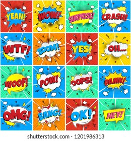 Colorful comic speech bubbles seamless pattern with phrases: OMG!, POW!, BANG!, OOPS!, WOW!, SURPRISE!, HEY! BOOM! etc. flat style design vector illustration isolated on color rays background.