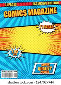 Colorful comics magazine with wordings white speech bubbles rays radial and halftone effects in blue yellow red colors. Vector illustration