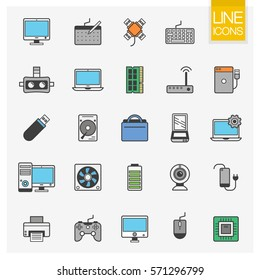 Colorful Computer Hardware Icons. PC Components and devices thin line vector; Electronic Appliances isolated