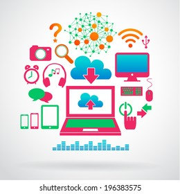 Colorful Computer and Internet icons set, Vector eps10