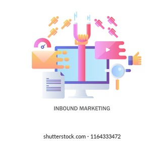 Colorful concept of inbound marketing, attracting online customers flat design vector on white background