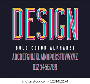 Colorful condensed bold font. Color typography alphabet. Vector illustration