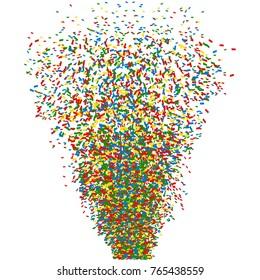 Colorful confetti cannon shot. Vector illustration ESP
