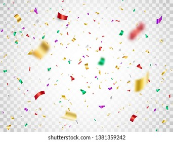 Colorful confetti falling on transparent background. Shiny festive confetti and tinsel. Bright party backdrop. Holiday design elements for web banner, poster, flyer, invitation. Vector illustration.