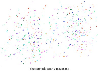 Colorful confetti falling on white background. Template for design