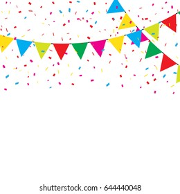 Colorful Confetti And Flags On White Background. Party. Multicolored. Vector