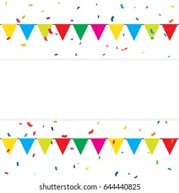 Colorful Confetti With Frame And Flags On White Background. Party. Multicolored. Vector
