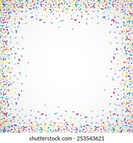Colorful confetti frame on white background